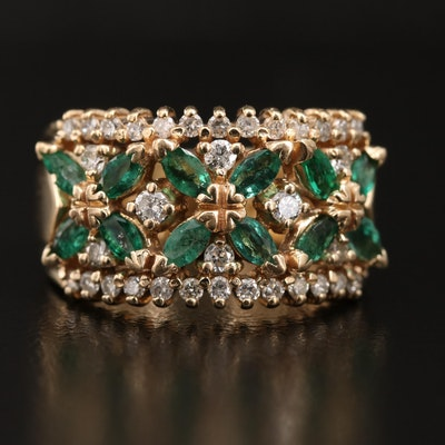 14K Diamond and Emerald Band