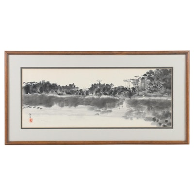 Ink Painting of Coastal Landscape, Late 20th Century