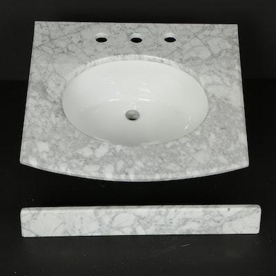 "24"" Italian Carrara Marble Vanity Top with 8"" Faucet Holes"
