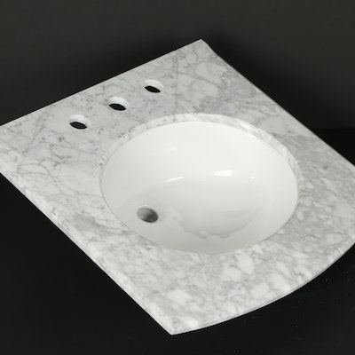 "24"" Italian Carrara Marble Vanity Top with 8"" Faucet Holes"