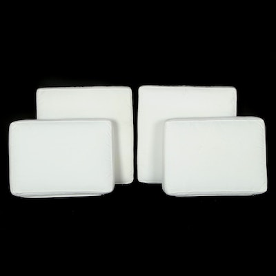 Set of White Outdoor Loveseat Cushions