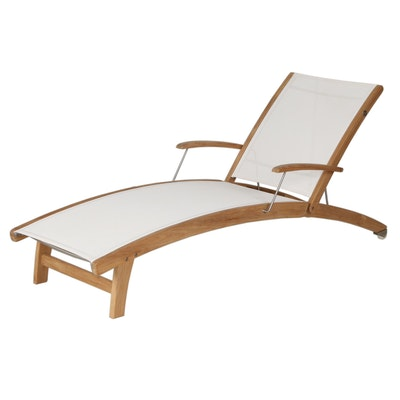 Rivera Teak Frame with Sling Style Batyline Mesh Lounge Chair