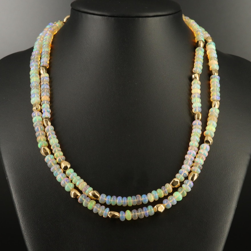 Opal Double Strand Necklace with 14K Clasp and Spacer Beads