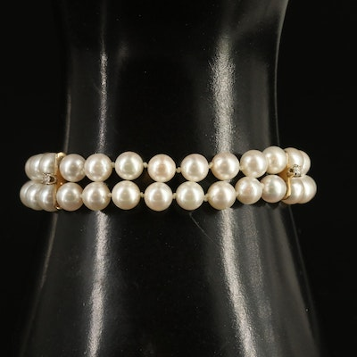18K Pearl and Diamond Double Strand Bracelet