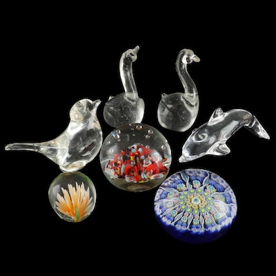 Daum of France Crystal Dolphin and Other Art Glass Paperweights