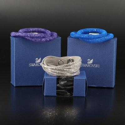 """Swarovski Crystal """"Stardust"""" Double Wrap and Suede Multi-Row Bracelets"""