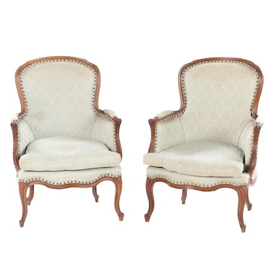 Pair of Louis XV Style Finger Carved Beech Armchairs