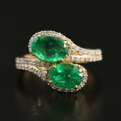 18K 2.00 CTW Emerald and Diamond Bypass Ring