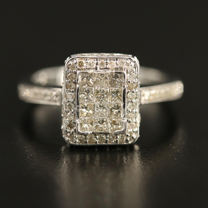 14K Diamond Halo Rectangle Ring with Channel Shoulders