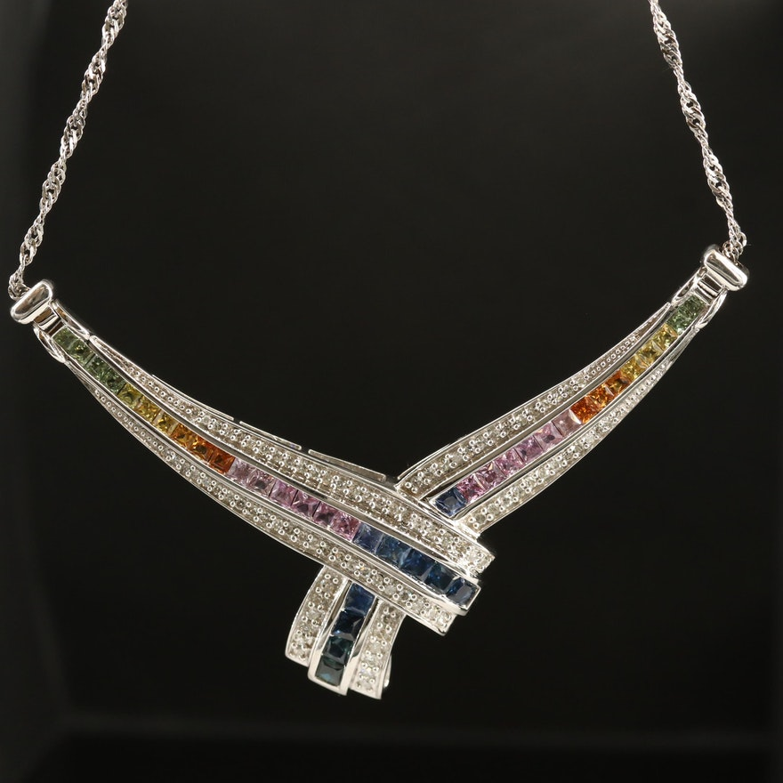 14K Sapphire and Diamond Crossover Necklace