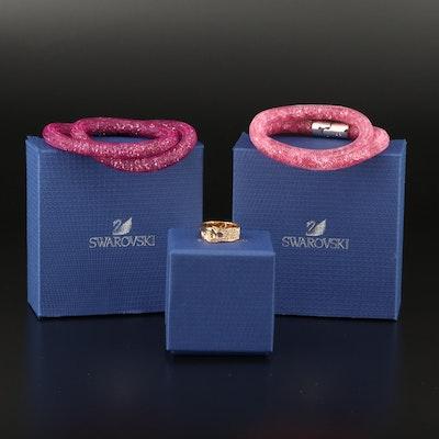 "Swarovski Crystal ""Stardust"" Double Bracelets and ""Gallon"" Interlock Ring"