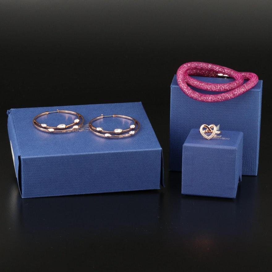 "Swarovski Crystal Jewelry Including ""Gaze"" Earrings and ""Cupidon"" Ring"