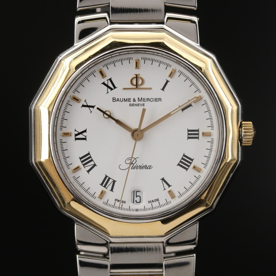 Baume & Mercier Riviera with Date 18K Gold and Stainless Steel Wristwatch
