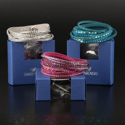 Swarovski Suede Multi-Row Crystal Bracelets