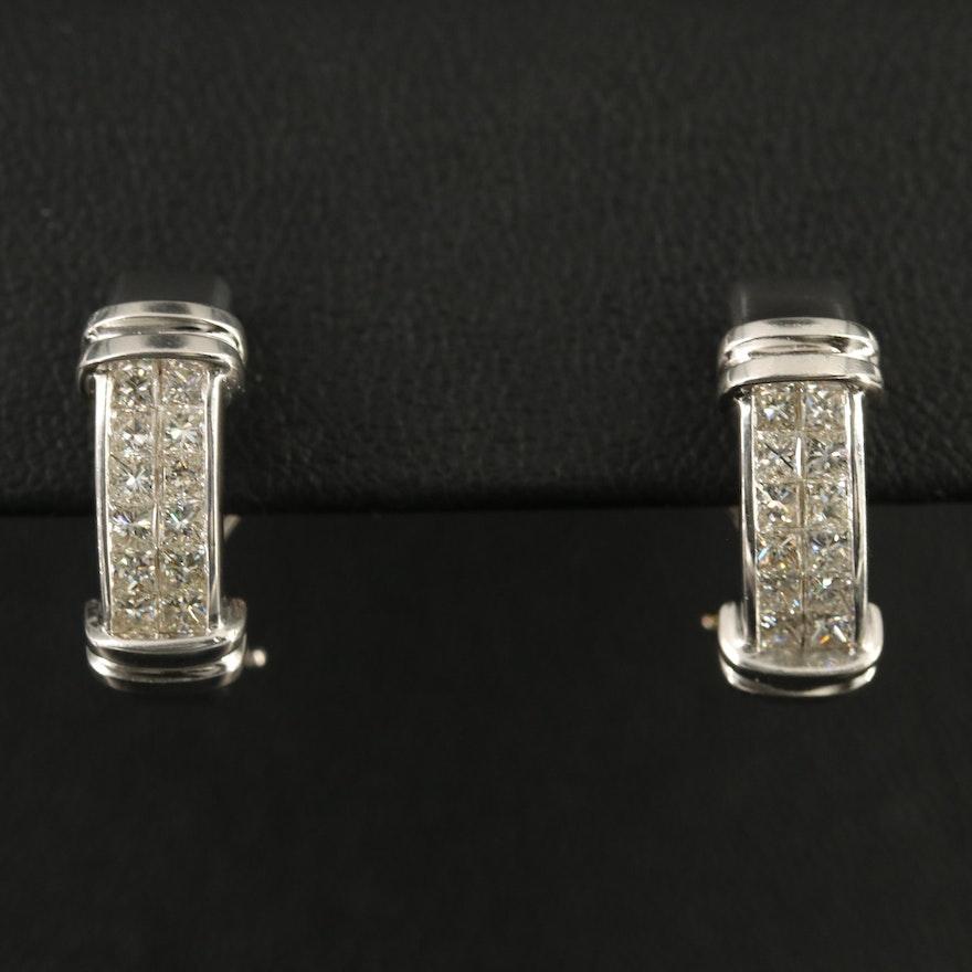 18K 1.08 CTW Diamond J-Hoop Earrings