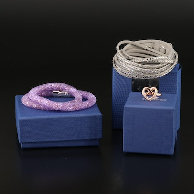 "Swarovski Crystal Jewelry Featuring ""Cupidon"" Ring and ""Stardust"" Bracelet"