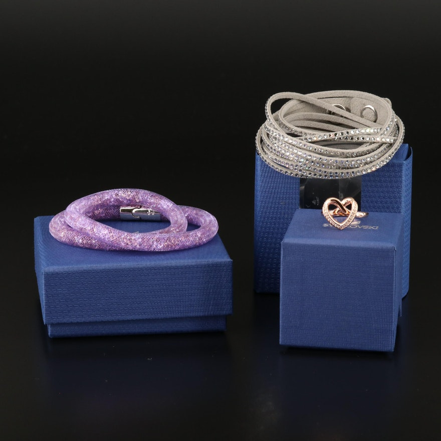 """Swarovski Crystal Jewelry Featuring """"Cupidon"""" Ring and """"Stardust"""" Bracelet"""