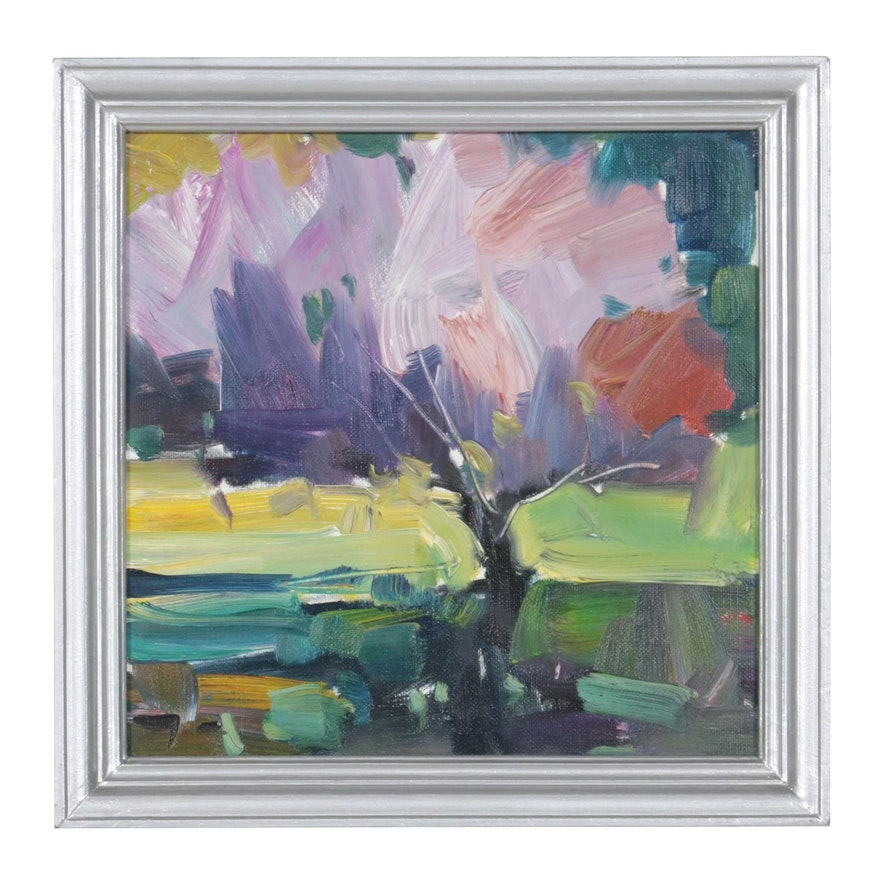 "Jose Trujillo Oil Painting ""Purple Willow,"" 2019"