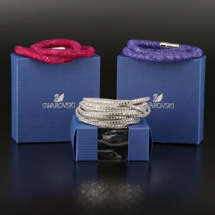 """Swarovski Crystal """"Stardust"""" Wrap and Suede Multi-Row Bracelets"""