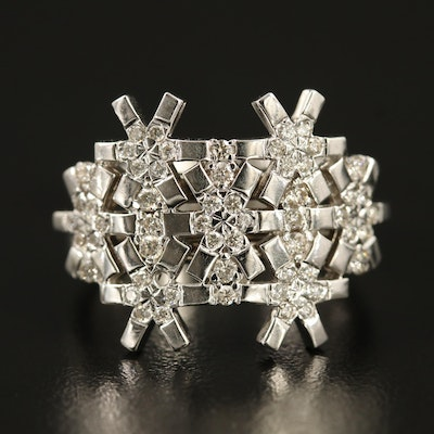 18K Diamond Snowflake Motif Ring