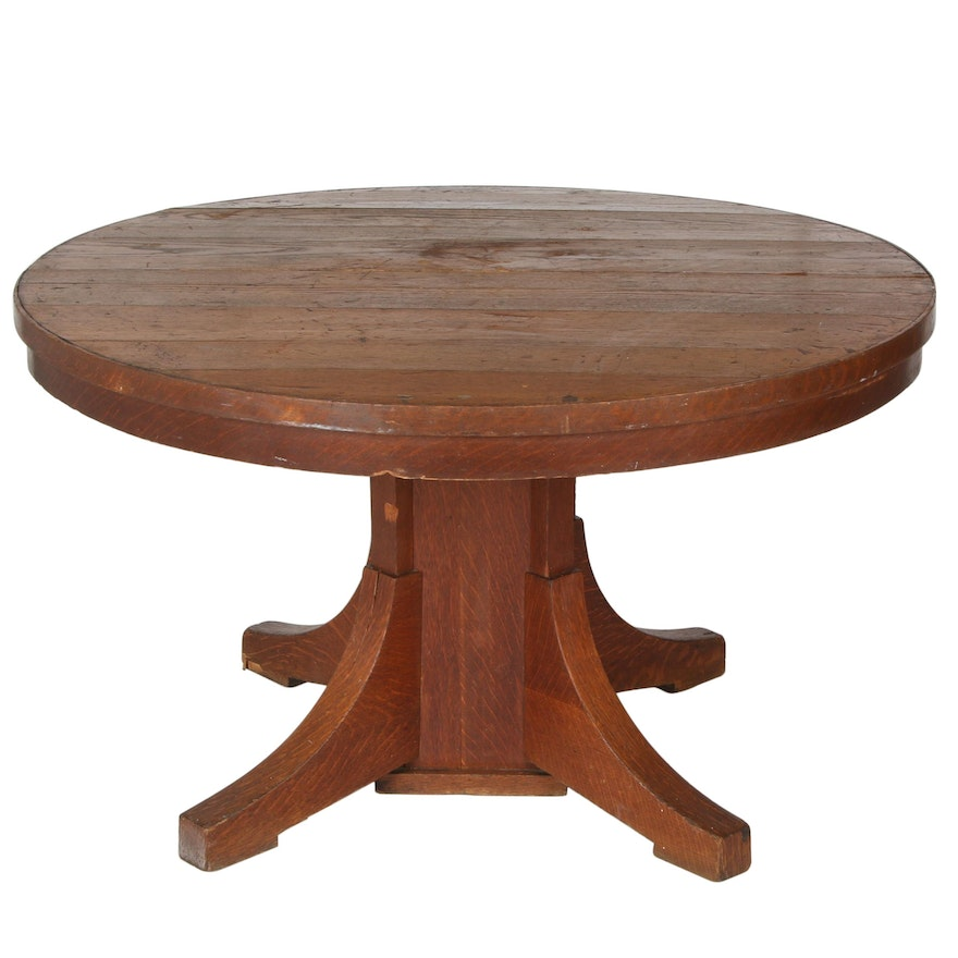 Arts & Crafts Oak Pedestal Dining Table, Late 19th/ Early 20th Century
