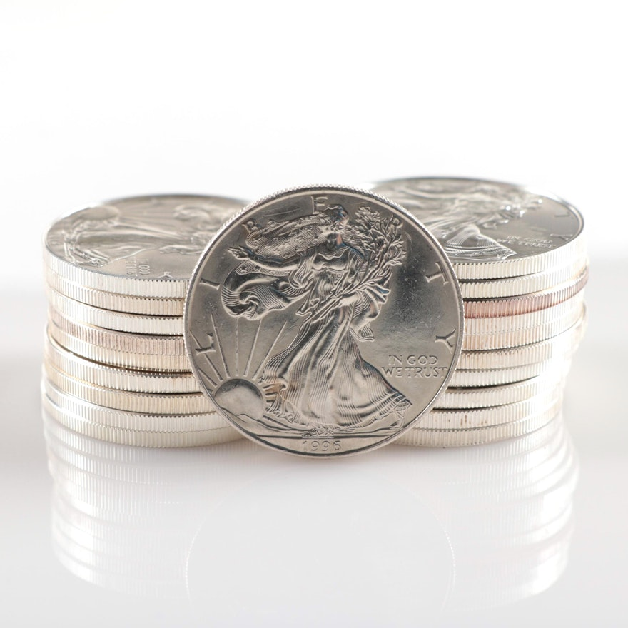 Twenty American Silver Eagle Bullion Coins Including 1996