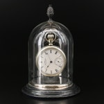 1888 Waltham Side Winder Pocket Watch and Display Bell Jar