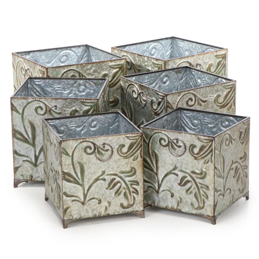 Six Galvanized Leaf Motif Planter Boxes