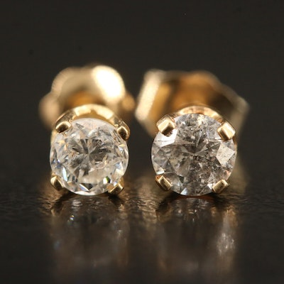14K Diamond Single Stud Earrings