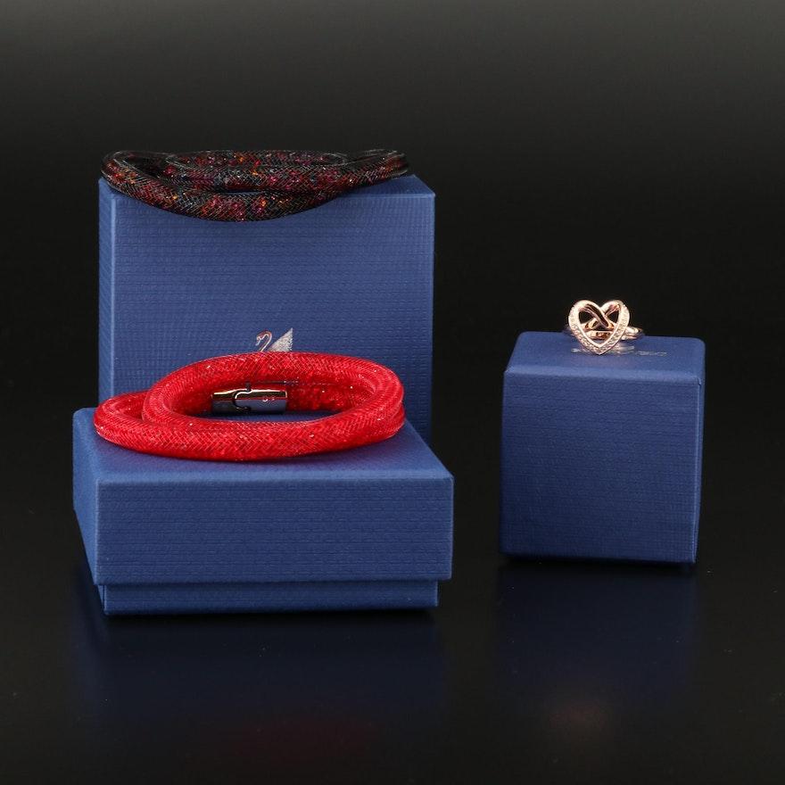 "Swarovski ""Stardust"" Wrap Bracelets and ""Cupidon"" Ring"
