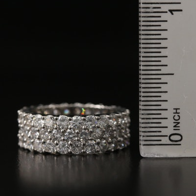 Platinum 4.42 CTW Diamond Triple Row Eternity Band