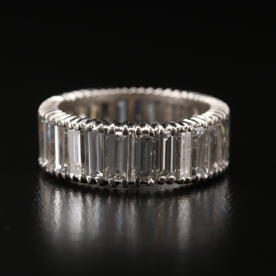 Circa 1950 Platinum/Palladium Alloy 8.10 CTW Diamond Eternity Band