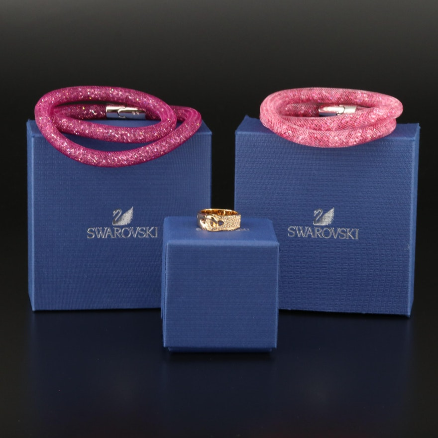 "Swarovski Crystal ""Stardust"" Double Bracelets and ""Gallon"" Interlocking Ring"