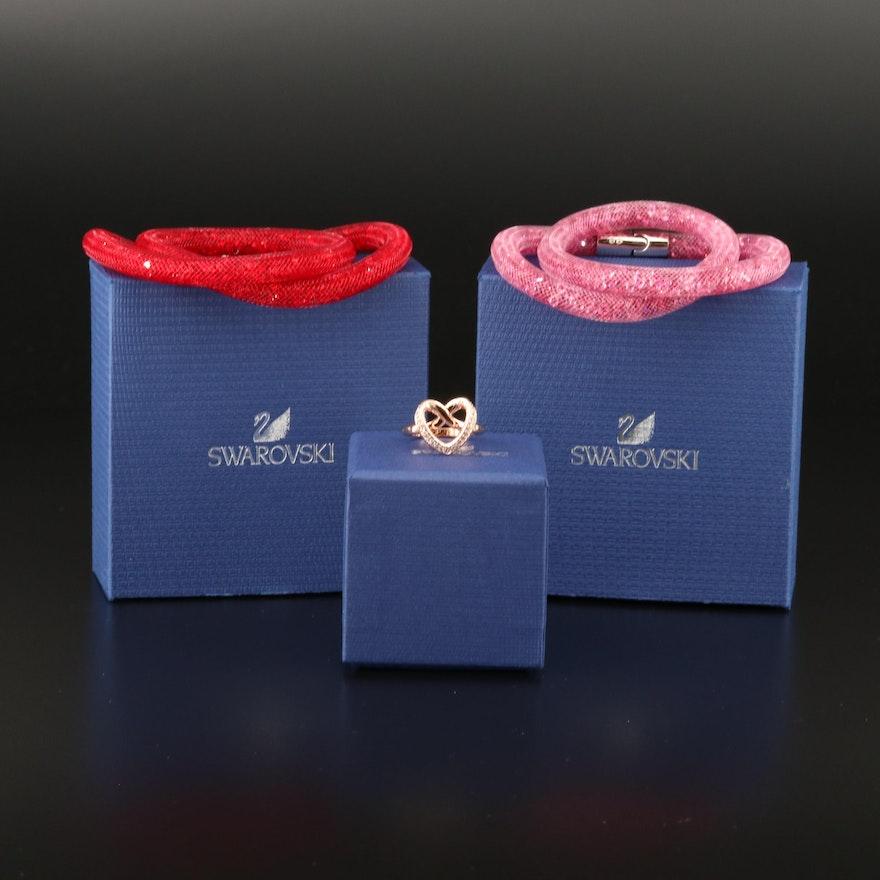 "Swarovski Crystal ""Cupidon"" Ring and ""Stardust"" Double Bracelets"