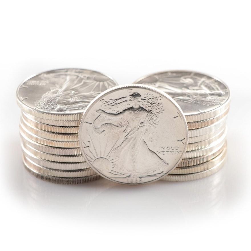 Roll of Twenty 1989 $1 American Silver Eagle Bullion Coins