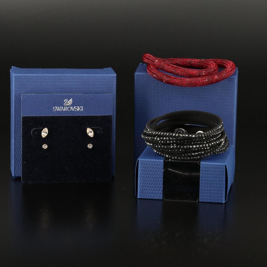 "Swarovski ""Stardust"" and Suede Wrap Bracelets with ""Harley"" Stud Earrings"