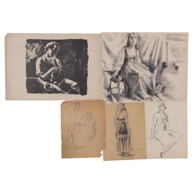 Edgar Yaeger Charcoal and Graphite Figure Studies and Lithograph