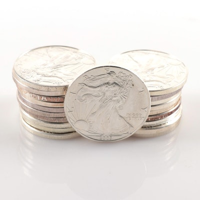Twenty American Silver Eagle Bullion Coins from the 2000s