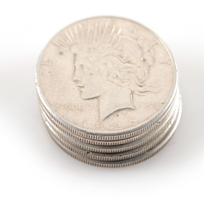 Five 1926-S Peace Silver Dollars