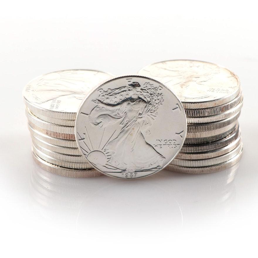 Roll of Twenty 1987 $1 American Silver Eagle Bullion Coins