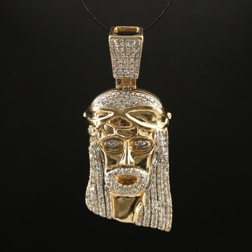 10K Diamond Jesus Pendant