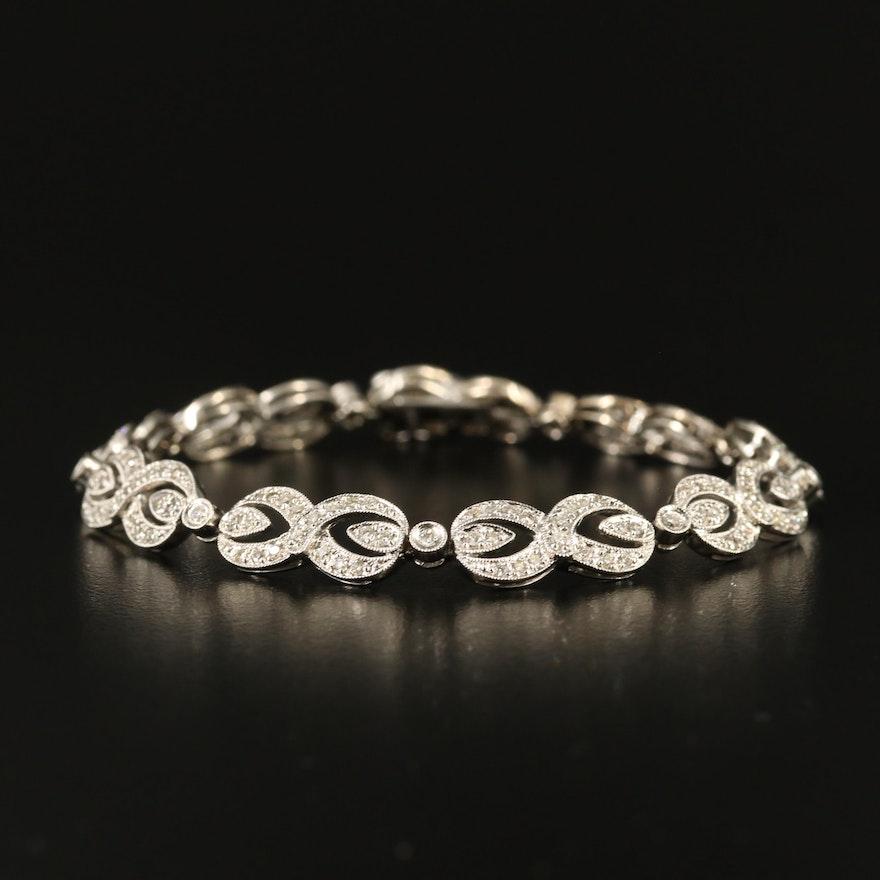 14K 1.48 CTW Diamond Figure-Eight Link Bracelet