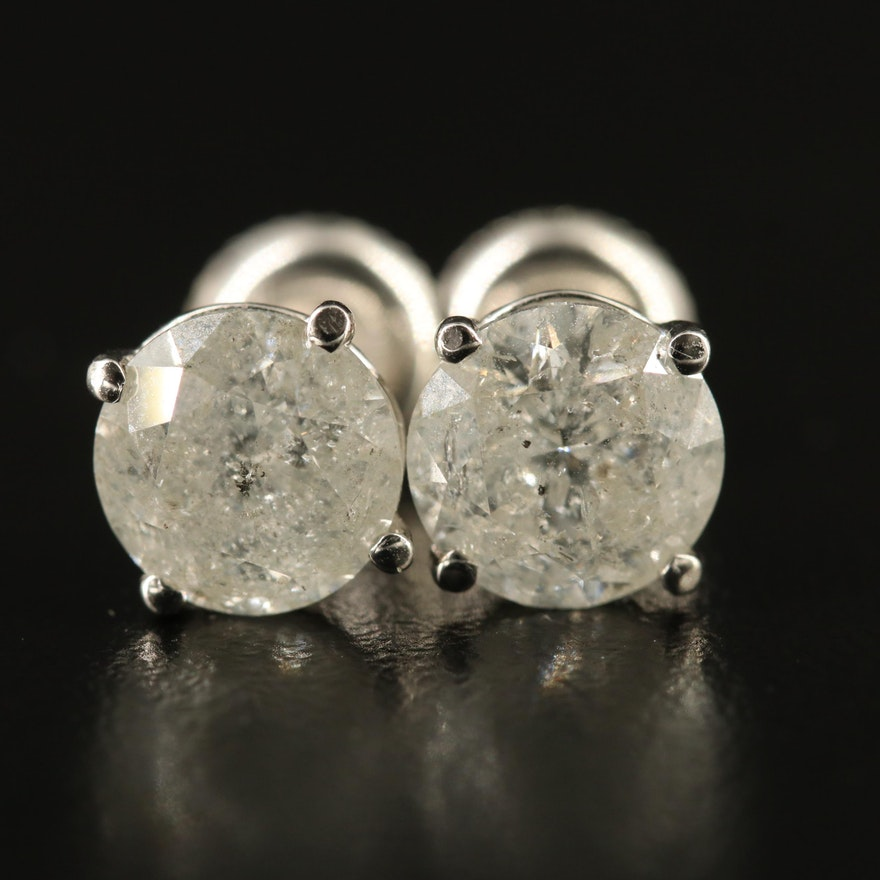 14K 2.98 CTW Diamond Martini Set Stud Earrings