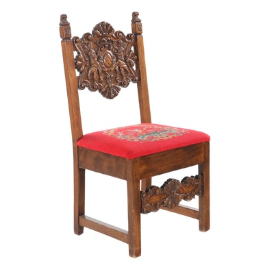 Tudor Revival Carved Oak Side Chair, Early 20th Century