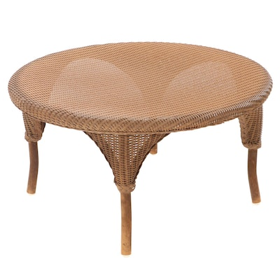 Lloyd Loom by LLoyd Flanders Wicker Patio Coffee Table with Glass Top