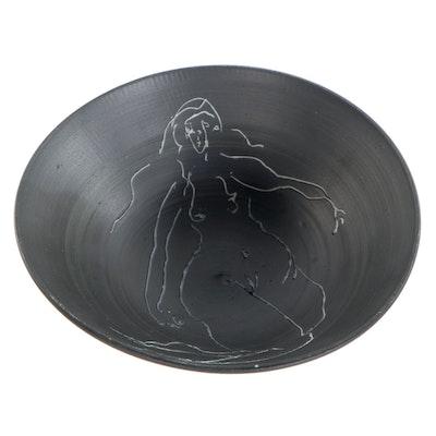 "Edward Eberle Porcelain Sgraffito Bowl ""Figure Redux #1,"" 2001"