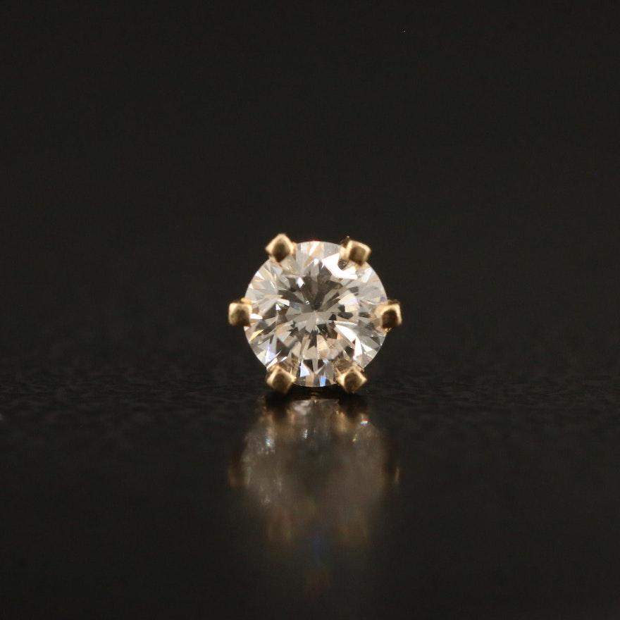 Single 14K Diamond Stud Earring