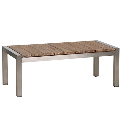 Outdoor Patio Teak Coffee Table with Brushed Stainless Steel Frame