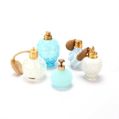 Fenton for DeVilbiss Feathered, Hobnail, and Vaseline Glass Perfume Bottles