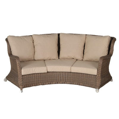Alcee Resin Wicker Curved Outdoor Sofa with Sunbrella Cushions